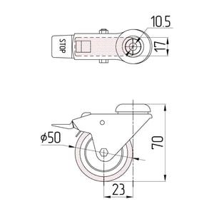 Колесо поворотное под штырь с тормозом схема