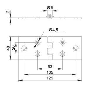 Петля карточная 40х128 ТИП-2 схема