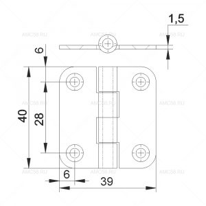 Петля накладная ПН5-40 схема